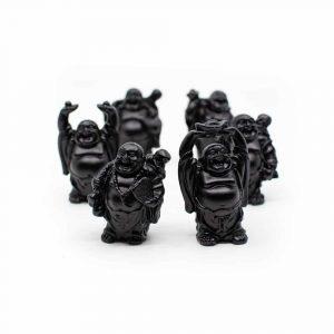 Glücks-Buddha Mini-Statuen Stehend Polyresin Schwarz - Satz von 6 - ca. 7 cm