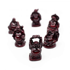 Glücks-Buddha Mini-Statuen Polyresin Rot - Satz von 6 - ca. 5 cm