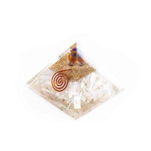 Orgonitpyramide - Selenit mit Amethystkristall - Groß