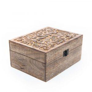 Aufbewahrungskiste nachhaltiges Holz Floral Handgefertigt (21,5 cm)