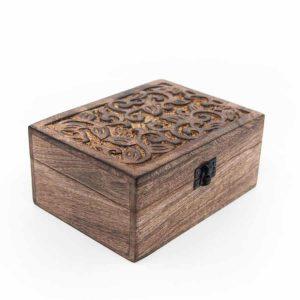 Aufbewahrungskiste Nachhaltiges Holz Floral Handgefertigt (18 cm)