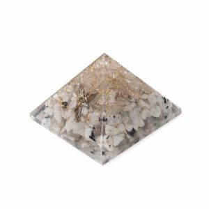 Orgonitpyramide Regenbogen Mondstein & Bergkristall mit Engel - Groß