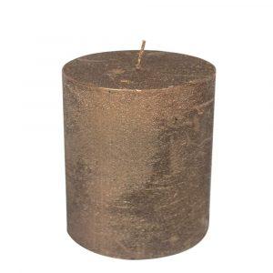 Kupferfarbene Stumpfkerze (15 x 10 cm)
