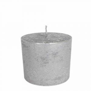 Stumpfkerze Silber (10 x 10 cm)