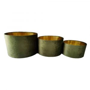 Samt Lampenschirm Zylinder Golden-Apfelgrün (3er-Satz)