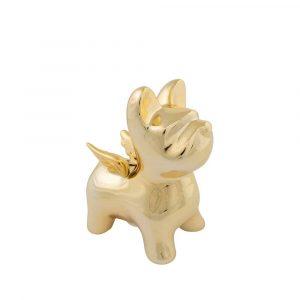 Goldfarbene Spardose Bulldogge mit Flügeln (16,8 cm)
