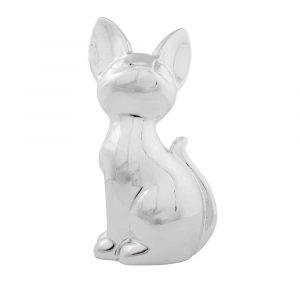 Silberfarbene Spardose Katze (21 cm)