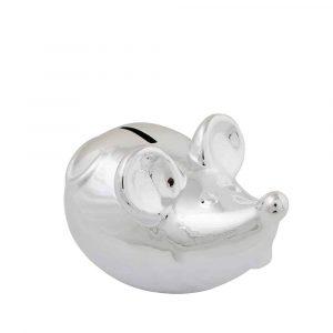 Silberfarbene Spardose Maus (17 cm)