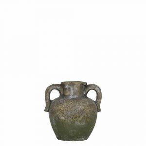 Krug Verwitterter Zement 2 Ohren Moosgrün (16 cm)