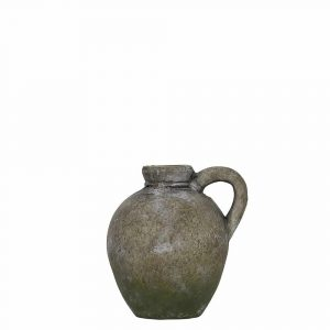 Krug verwitterter Zement mit Ohr Moosgrün (18 cm)