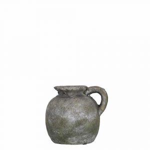 Krug Verwittertes Zement mit Ohr Moosgrün (15 cm)