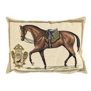 Gobelin Kissen Pferd mit grünem Sattel (45 x 31 cm)