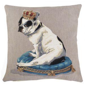 Gobelin Kissen Französische Bulldogge mit Krone (45 x 45 cm)