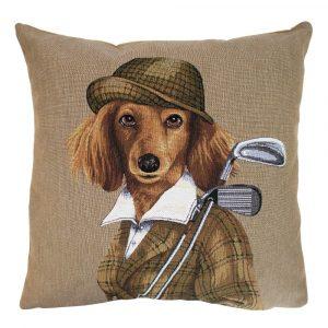 Gobelin Kissen Golf Hund Dame (45 x 45 cm)