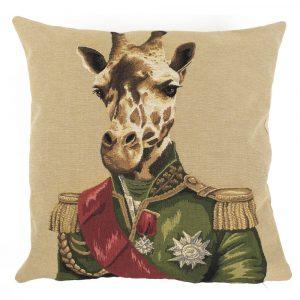 Gobelin Kissen Offizier Giraffe Beige (45 x 45 cm)