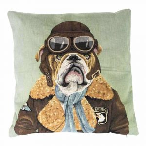 Gobelin Kissen Pilot Bulldogge (45 x 45 cm)