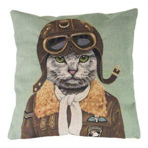 Gobelin Kissen Pilot Katze (45 x 45 cm)