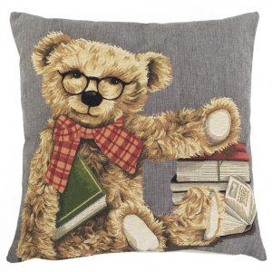Gobelin Kissen Teddybär Buch (45 x 45 cm)