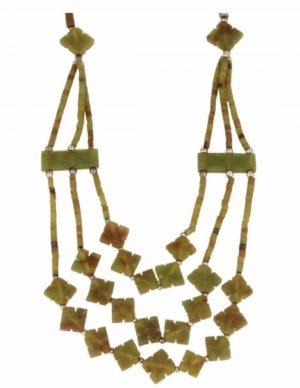 Jade boho Halskette 3-Strang Klee