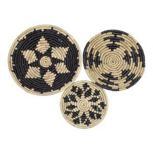 Schwarze Wandkörbe aus Seegras (3er-Set)