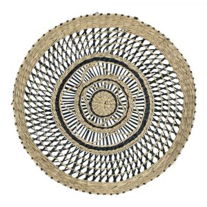 Durchbrochener schwarzer Wandkorb aus Seegras (40 cm)