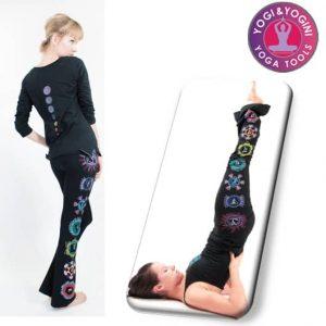 Yogahose Chakra handbemalt Baumwolle schwarz S