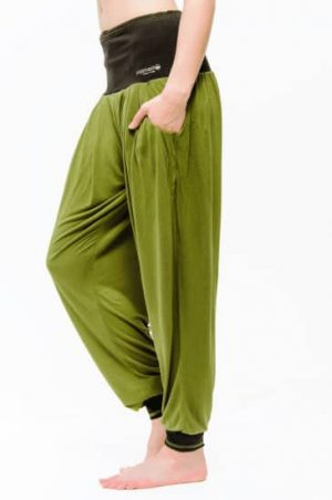 Yogahose Vinayasa olivgrün schwarz S-M