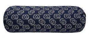 Yoga Nackenrolle Blau Rund Baumwolle - Lotus - 60 x 20 cm