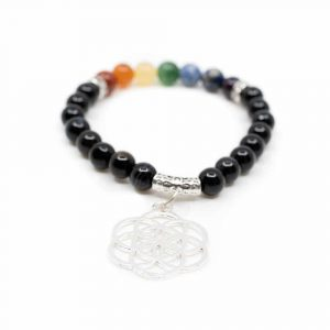 Schwarzer Onyx Chakra Armband mit Lebensblume