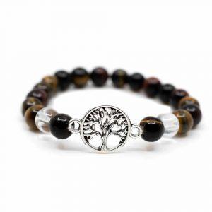 Edelstein Armband Tigerauge/Bergkristall mit Lebensbaum