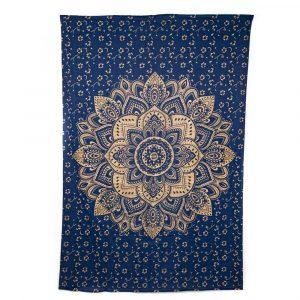 Authentisches Mandala Wandtuch Baumwolle Blau/Gold (215 x 135 cm)