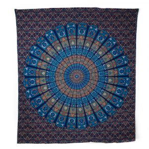 Authentisches Mandala Wandtuch Baumwolle Blau/Orange (240 x 210 cm)