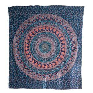 Authentisches Wandtuch Baumwolle Blaues Tierreich-Mandala (240 x 210 cm)