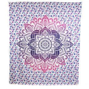 Authentisches Wandtuch Baumwolle Blau/Rotes Mandala (240 x 210 cm)