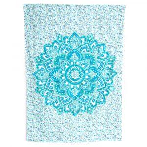 Authentisches Wandtuch Baumwolle mit blauem Mandala (215 x 135 cm)