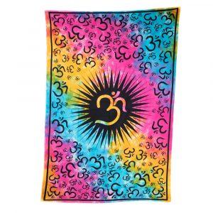 Authentisches Wandtuch Baumwolle mit farbenfrohem OM (215 x 135 cm)