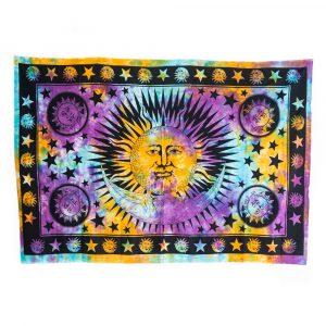 Authentisches-Wandtuch-Baumwolle-mit-farbenfroher-Sonne-und-Mond-(215-x-135-cm)