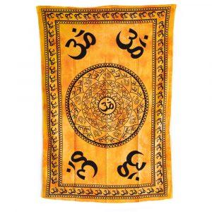 Authentisches Wandtuch Baumwolle OM Mandala Gelb (215 x 135 cm)