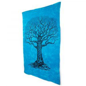 Authentisches Wandtuch Baumwolle Lebensbaum Blau (215 x 135 cm)