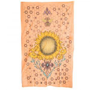 Authentisches Wandtuch Sonnenblume und Biene aus Baumwolle (215 x 135 cm)