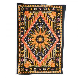 Authentisches Wandtuch Baumwolle mit Sonne und Mond (215x135cm)
