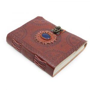 Handgefertigtes Leder-Notizbuch mit Lapislazuli (17,5 x 13 cm)