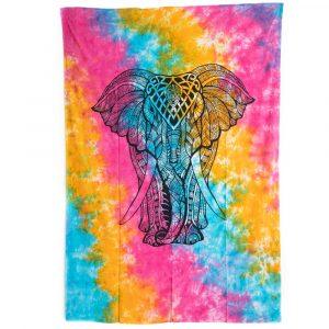 Authentisches Wandtuch Baumwolle mit farbenfrohem Elefant (215x135cm)