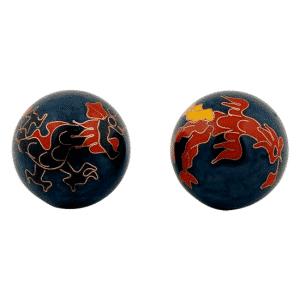 Qigongkugel Dragon & Phoenix (dunkelblau)