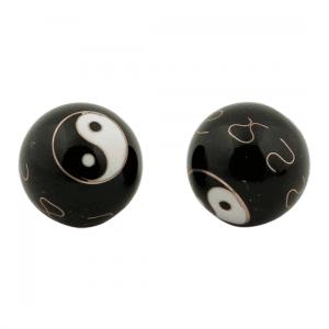 Qi Gong Kugeln Yin Yang schwarz - 4 cm - Modell 1