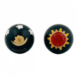 Qi Gong Kugeln Sonne & Mond rot/gelb auf schwarz