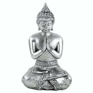 Betender Buddha silberfarbig Thailand (12 cm)