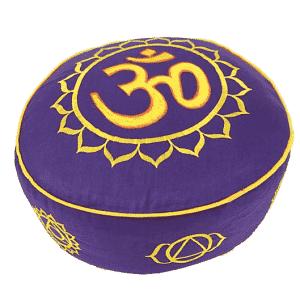 Meditationskissen 7 Chakren & Ohm gold/violett (33 x 17cm)