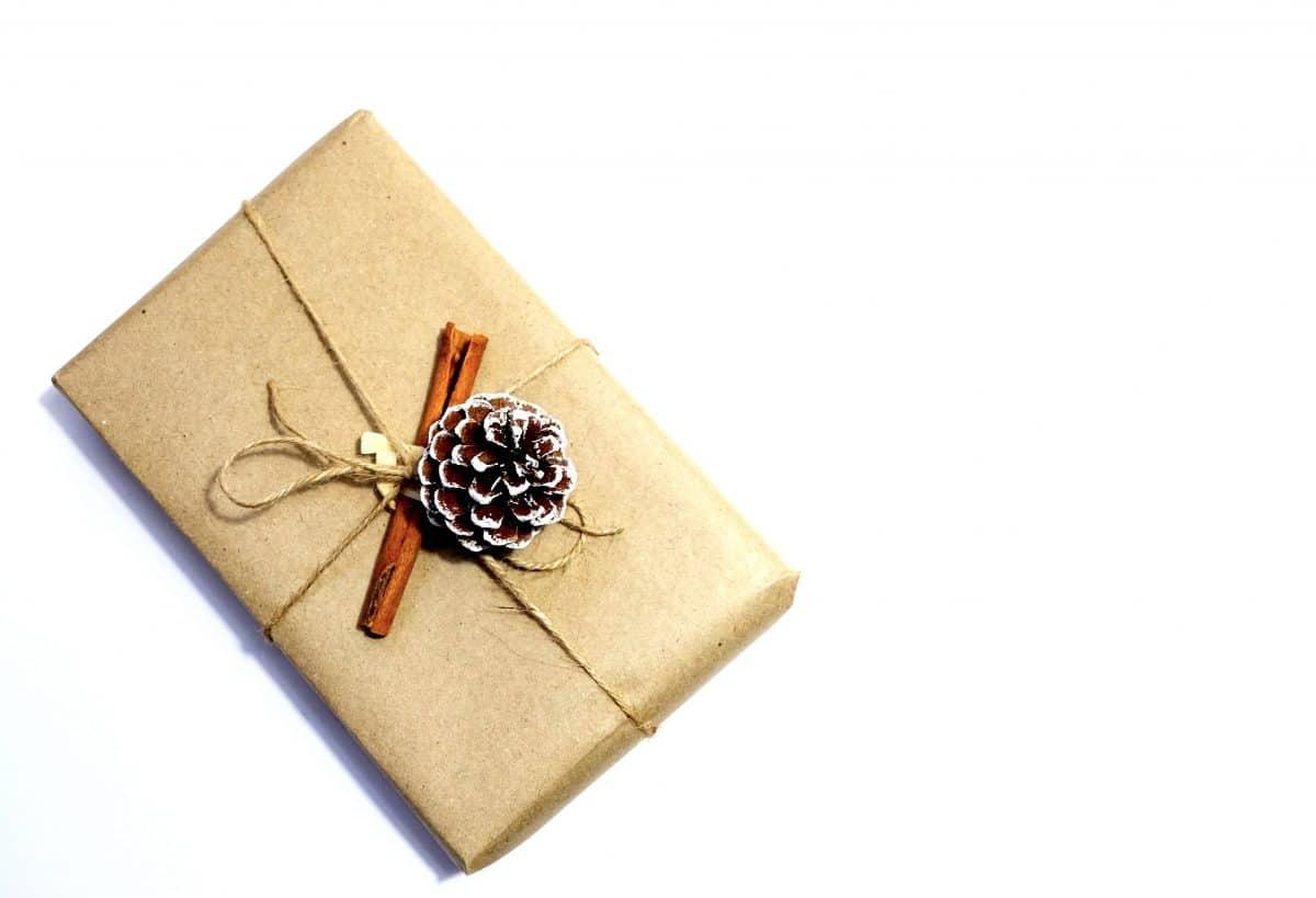 Geschenk mit braunem Papier mit Juteschnur Tannenzapfen Zimtstab auf weißem Hintergrund