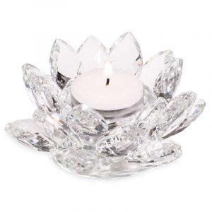Lotus Teelichthalter Kristall (1 x 4,5 cm)